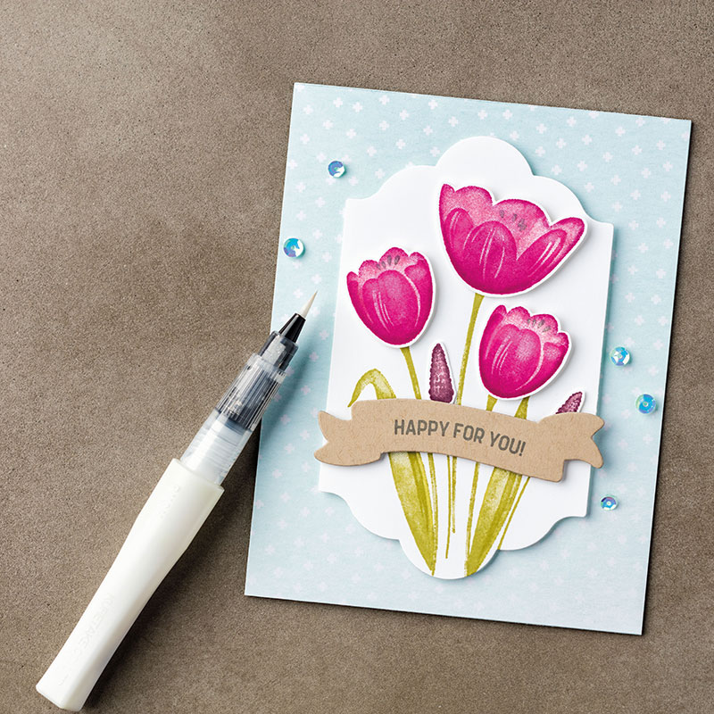 Marbled Background Meets Tranquil Tulips!