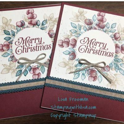 Forever fern Christmas wreath card
